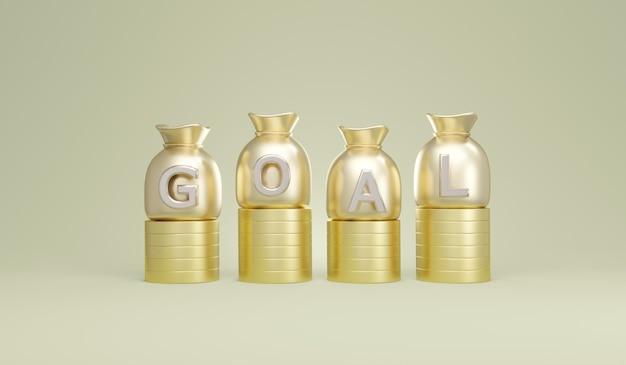 재정 목표의 동전 개념 스택에 goal이라는 텍스트가 있는 돈 가방의 3d 렌더링