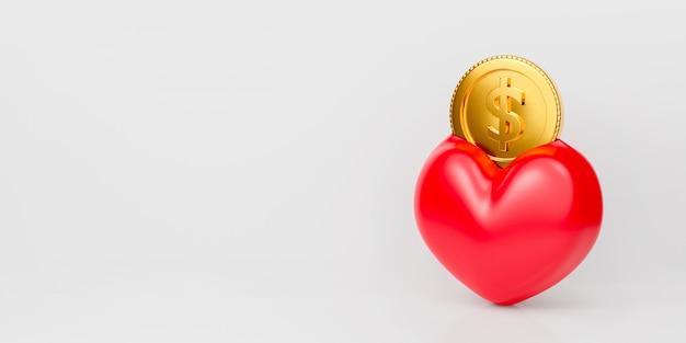 赤いハートの形とコインの貯金箱の3 dレンダリング