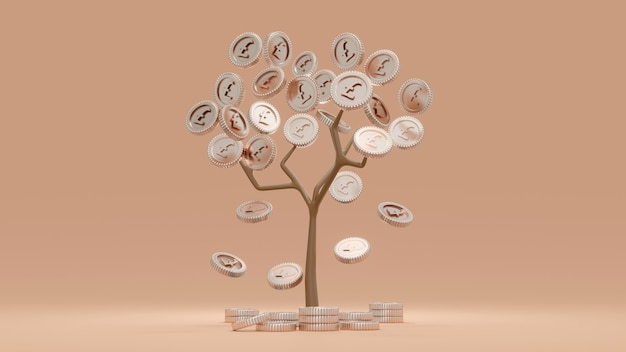 3d визуализация денежного дерева британских денежных монет