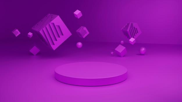 モークアッププラットフォームの3dレンダリング、ピンクの抽象的なステージレンダリング。