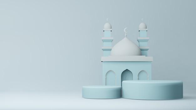 연단과 모스크의 3d 렌더링