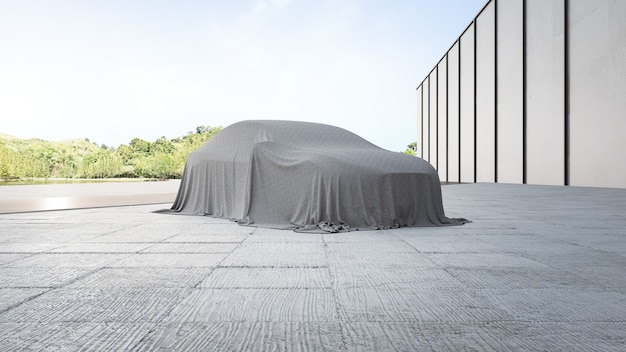 천으로 덮여 새 자동차의 3d 렌더링