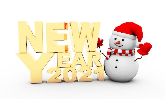 3d рендеринг «новый год 2021» и снеговик