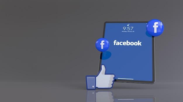 3d-рендеринг одного значка facebook like и таблеток с логотипом перед ipad, на котором отображается логотип приложения facebook.