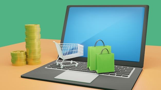 オンラインショッピングの概念の3 dレンダリング。ショッピングカートとラップトップ上のショッピングバッグ。現金お金コイン。