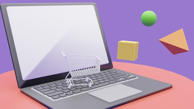 3d-рендеринг концепции интернет-магазинов. корзина на ноутбуке.
