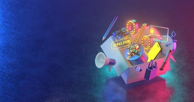 3d-рендеринг открытых коробок и подарков.