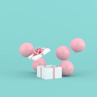 열린 선물 상자와 풍선의 3d 렌더링입니다. 최소한의 개념.