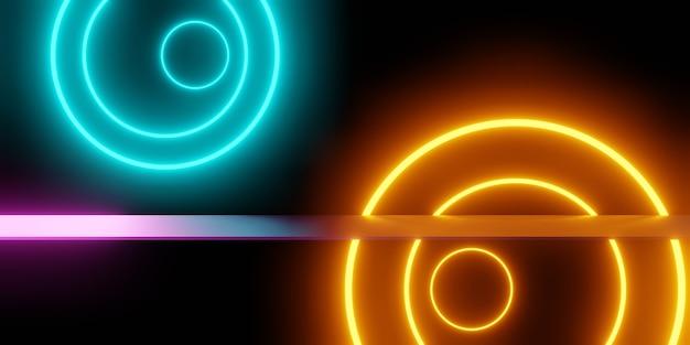 オレンジブルーの輝くネオンライト抽象の3dレンダリング