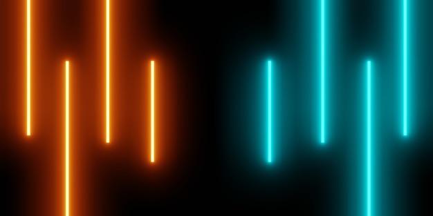 오렌지 블루 빛나는 수직선의 3d 렌더링