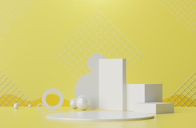 파스텔의 3d 렌더링은 노란색과 회색 배경을 비추는 모의 및 제품 프레젠테이션을위한 연단 장면을 표시합니다.