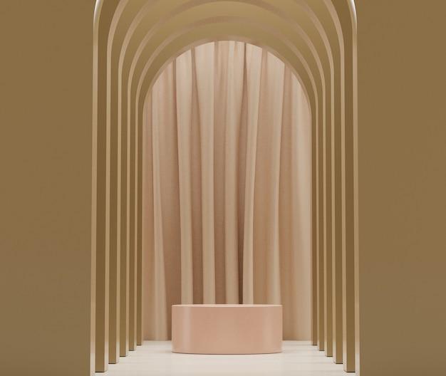 3d-рендеринг пастельных изображений сцены подиума для макета и презентации продуктов с минимальным фоном.