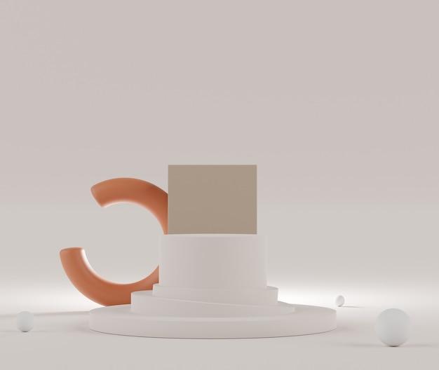 파스텔의 3d 렌더링은 최소한의 배경으로 모의 및 제품 프레젠테이션을위한 연단 장면을 표시합니다.
