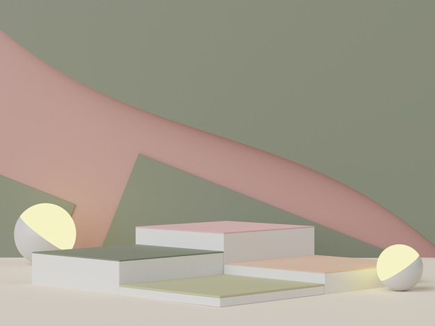 アースカラーをテーマにした空白の表彰台のパステルミニマルシーンの3dレンダリング