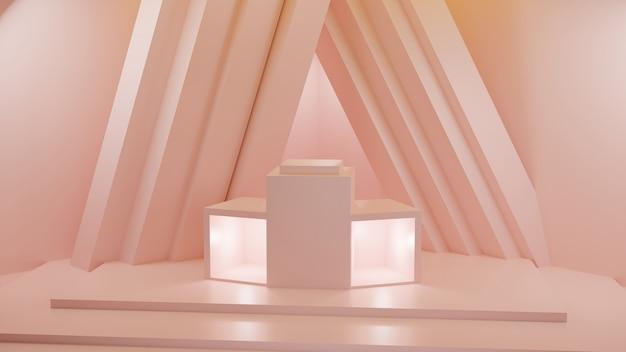 パステルオレンジの背景の空白のスタジオの3dレンダリング