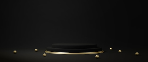 3d-рендеринг постамента на черном фоне, золотая рамка, мемориальная доска, абстрактная минимальная концепция, роскошный минималистский макет