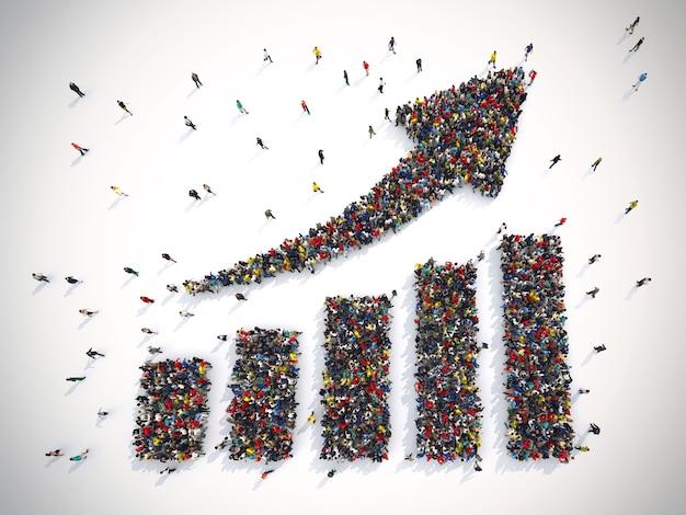 3d-рендеринг людей формирует стрелку и статистику