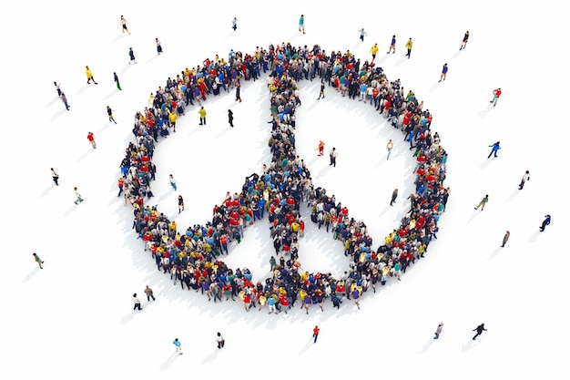 사람들의 3d 렌더링은 평화의 상징을 형성