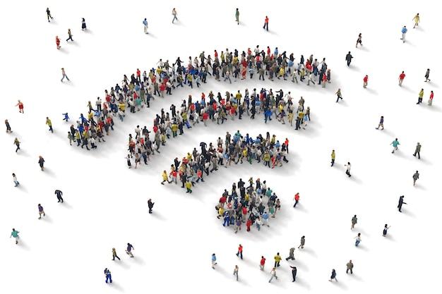 사람들의 3d 렌더링은 와이파이 기호를 형성
