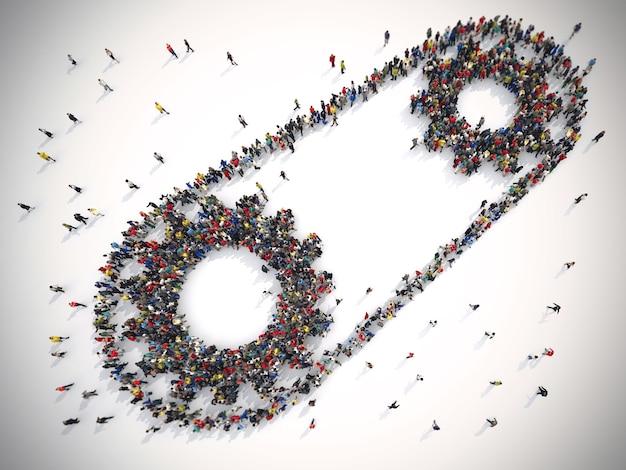 団結した人々の3dレンダリングは2つのギアを形成します。チームワークシステムの概念