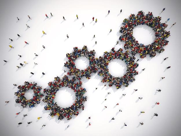 3d-рендеринг людей, объединенных двумя шестернями