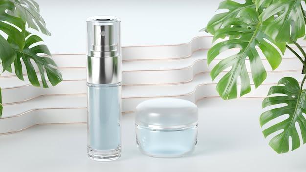 製品展示用の香水スプレーとクリームの3dレンダリング