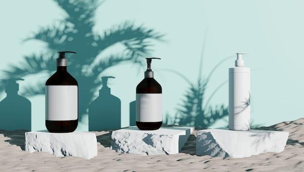 3d-рендеринг экспозиции парфюмерно-косметической продукции для создания мокапов из камня и синей поверхности с тенями растений