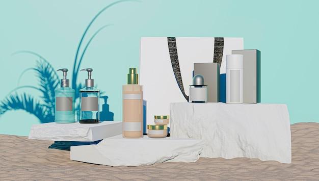 식물의 그림자가있는 돌과 파란색 표면에 모형을 만들기위한 향수 및 화장품 제품 디스플레이의 3d 렌더링