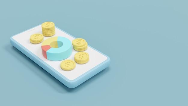 파이 차트의 3d 렌더링 및 재무 계획의 동전 스택 개념
