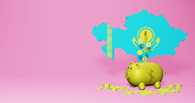 3d-рендеринг копилки как положительный экономический рост в казахстане