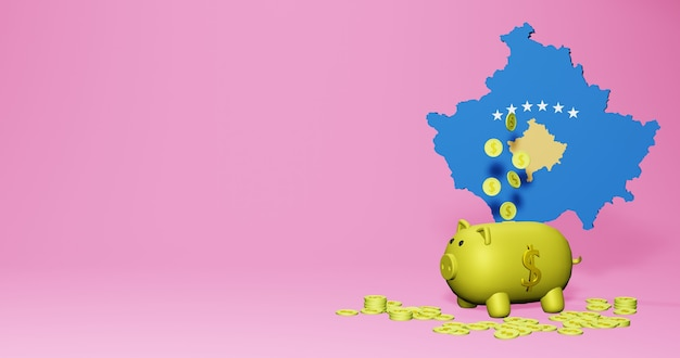 코소보에서 긍정적인 경제 성장으로 돼지 저금통의 3d 렌더링