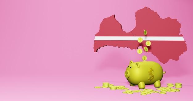 라트비아에서 긍정적인 경제 성장으로 돼지 저금통의 3d 렌더링