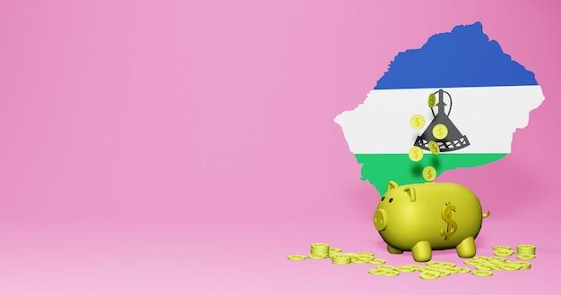 레소토에서 긍정적인 경제 성장으로 돼지 저금통의 3d 렌더링