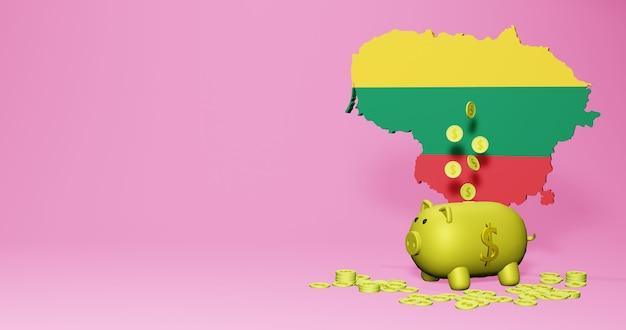 리투아니아에서 긍정적인 경제 성장으로 돼지 저금통의 3d 렌더링