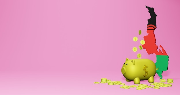 말라위에서 긍정적인 경제 성장으로 돼지 저금통의 3d 렌더링