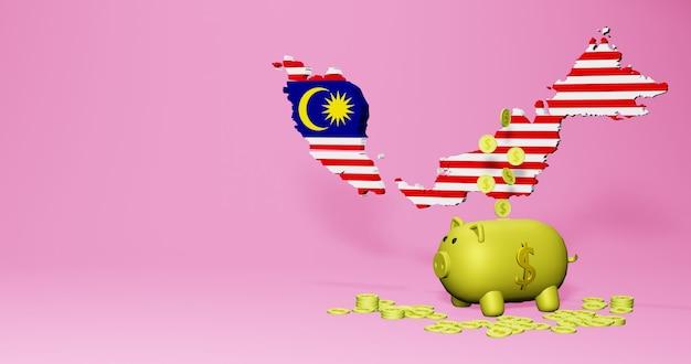 말레이시아의 긍정적인 경제 성장으로 돼지 저금통의 3d 렌더링