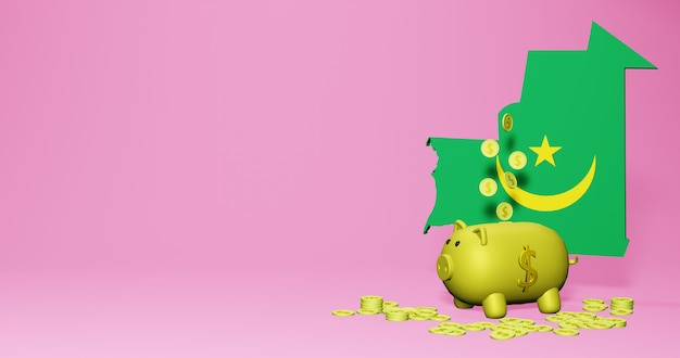 모리타니에서 긍정적인 경제 성장으로 돼지 저금통의 3d 렌더링