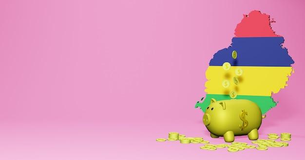 모리셔스에서 긍정적인 경제 성장으로 돼지 저금통의 3d 렌더링