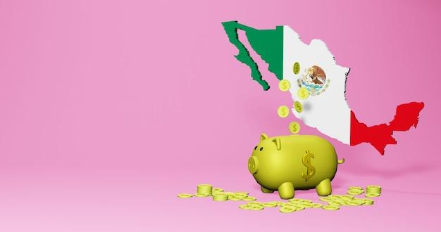 멕시코의 긍정적인 경제 성장으로 돼지 저금통의 3d 렌더링