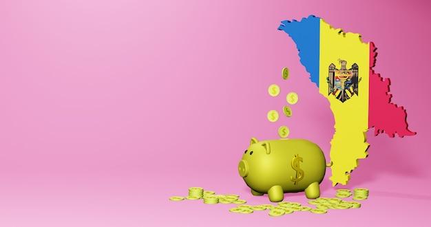 몰도바에서 긍정적인 경제 성장으로 돼지 저금통의 3d 렌더링