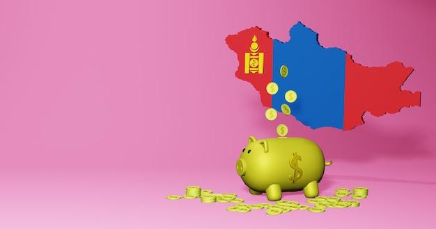 몽골의 긍정적인 경제 성장으로 돼지 저금통의 3d 렌더링