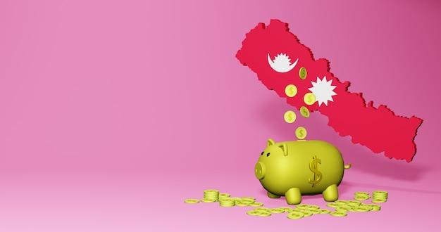 네팔의 긍정적인 경제 성장으로 돼지 저금통의 3d 렌더링