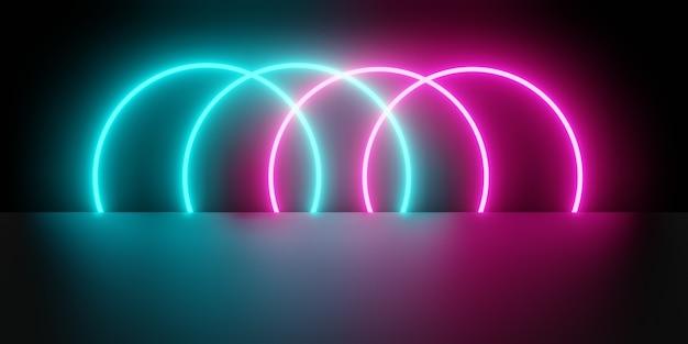 핑크 블루 빛나는 네온 빛의 3d 렌더링