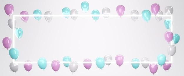 3d-рендеринг розового синего белого воздушного шара, плавающего на фоне со светодиодной рамкой