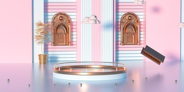 製品ディスプレイ用の金の表彰台とピンクのプラットフォームの3dレンダリング