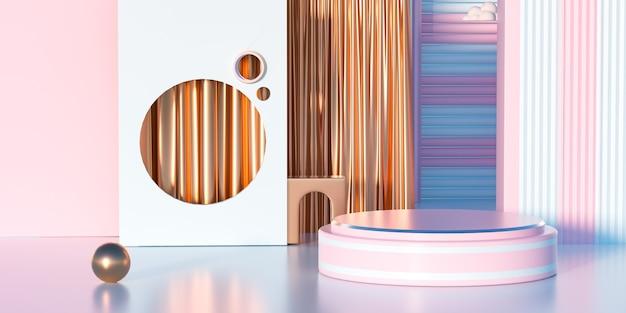 제품 표시를위한 황금 커튼이있는 분홍색 플랫폼의 3d 렌더링