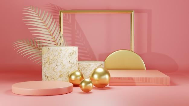 3d-рендеринг розового подиума для демонстрации продуктов на фоне комнаты в розовых тонах. мокап для выставочного продукта.