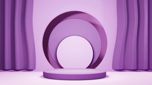 3d-рендеринг розового подиума тона для отображения фона продуктов. мокап для выставочного продукта.