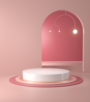 3d-рендеринг подиума и абстрактного геометрического.
