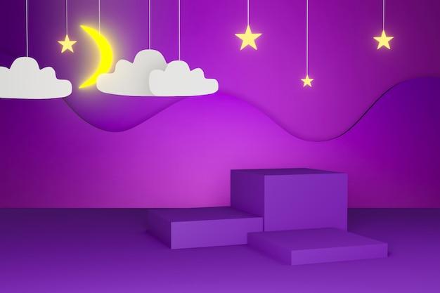 연단과 별과 구름과 달의 3d 렌더링